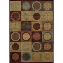 Illusion Circles Blocks Red Rug (7'10 x 9'10)