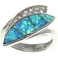 CGC Sterling Silver Created Opal and Cubic Zirconia Luxe Leaf Ring