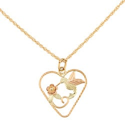 Black Hills Gold Hummingbird in Heart Necklace