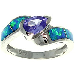 CGC Silver Purple Cubic Zirconia and Created Opal Radiating Beauty Ring