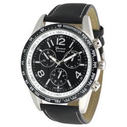 Geneva Platinum Men's Chronograph-style Genuine Leather Watch