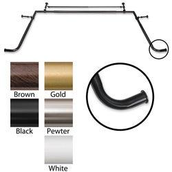 Bay Window 1-inch Diameter Double Curtain Rod Set