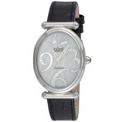 Burgi Women's Swiss Quartz Black-Strap Stainless-Steel Floral Watch