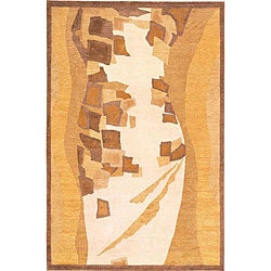 Hand-knotted 'Charisma' Gold/ Brown Wool Rug (6' x 9')