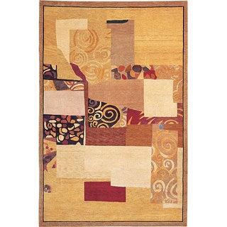 Hand-Knotted 'Charmant' Geometric-Print Gold Wool Rug (6' x 9')