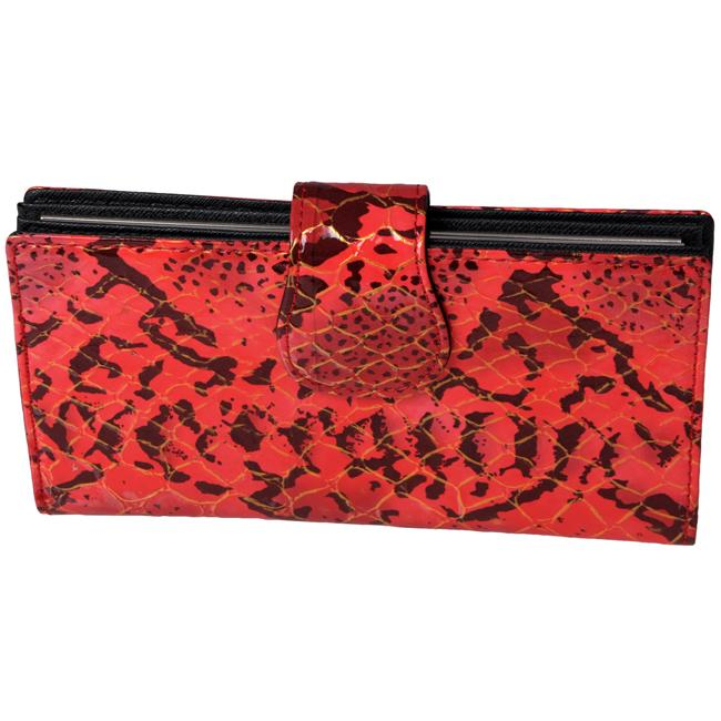 Journee Collection Women's Red Snake-Print Clutch Wallet