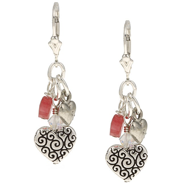 Charming Life Silver Pink Jade and Heart Charms Fringe Earrings