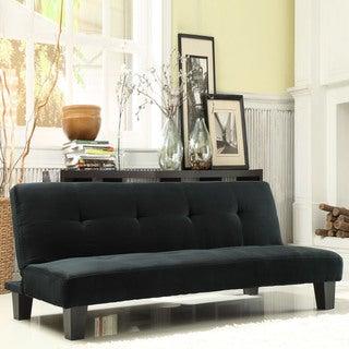 TRIBECCA HOME Bento Black Microfiber Suede Modern Mini Futon Sofa Bed