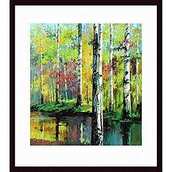 Jie Zhou 'Creekside II' Wood-framed Art Print