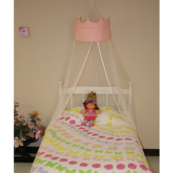 Princess Polyester White Knitted Crown Round Bedding Canopy