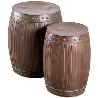 Set of 2 Steel Fluted Round Barrels (India)