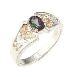 Black Hills Gold and Silver Mystic Fire Topaz Ring