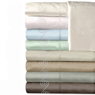 Grand Luxe Egyptian Cotton Sateen 500 Thread Count Swirl Deep Pocket Sheet Set and Pillowcase Separates