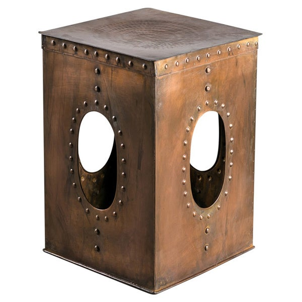 Steel Square Rivet Copper-colored Stool (India)