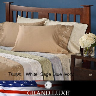 Grand Luxe Egyptian Cotton Sateen 300 tc Scroll D. Pocket Sheet Set and Pillowcase Separates