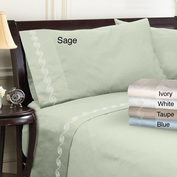 Grand Luxe Egyptian Cotton Sateen 300 Thread Count Swirl Deep Pocket Sheet Set and Pillowcase Separates