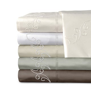 Grand Luxe Egyptian Cotton Sateen 800 Thread Count Scroll Solid Deep Pocket Sheet Set and Pillowcase Separates
