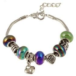 La Preciosa Silverplated Multi-colored Glass Bead and Charm Bracelet