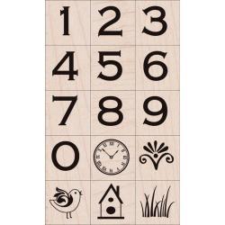 Hero Arts 'Copperplate Numbers' Wood-mounted Stamp Set