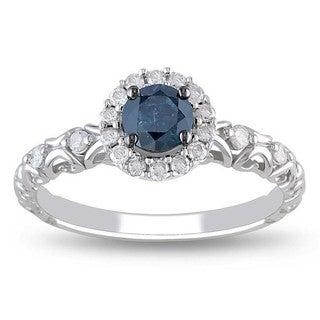 Miadora 14k Gold 1/2ct TDW Blue and White Diamond Halo Ring (G-H, I2-I3)