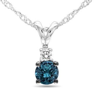 Haylee Jewels 10k White Gold 1/4ct TDW Blue Diamond Necklace (G-H, I2-I3)