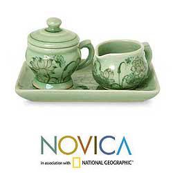 Celadon Ceramic 'Spring Lotus' Sugar Bowl and Creamer Set (Thailand)