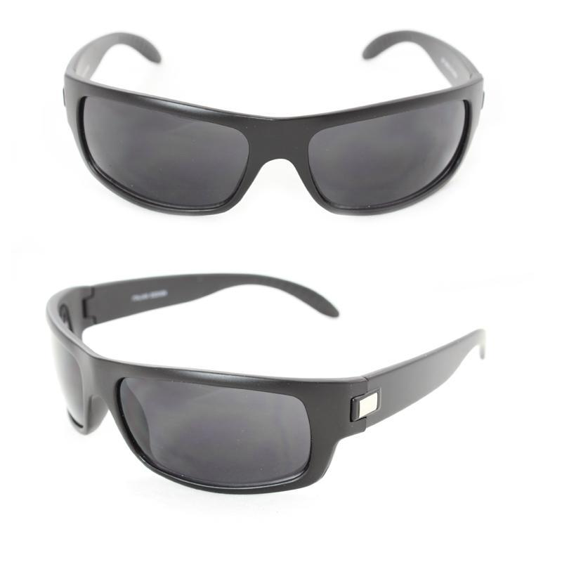 Men's 399 Black Matte Plastic Wrap Sunglasses