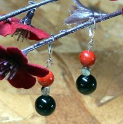 Susen Foster Silverplated 'Point of Origin' Onyx and Coral Earrings
