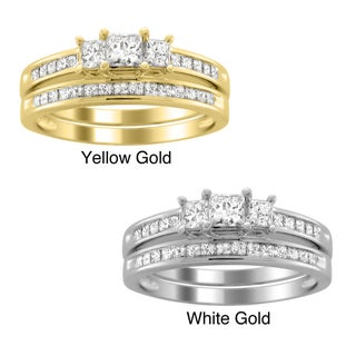 14k Gold 1ct TDW Princess-cut Diamond Bridal Ring Set (H-I, I1-I2)