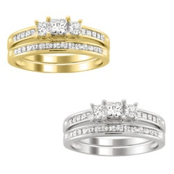 14k Gold 1 1/2ct TDW Three Stone Diamond Bridal Ring Set (H-I, I1-I2)