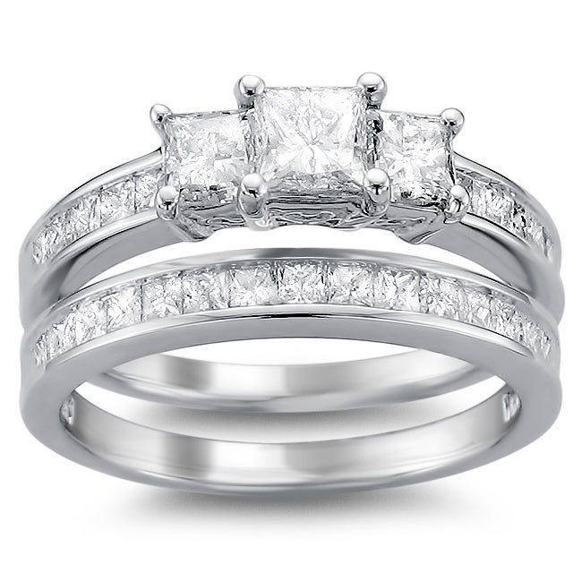 14k Gold 2ct TDW Princess Diamond Bridal Ring Set (H-I, I1-I2)