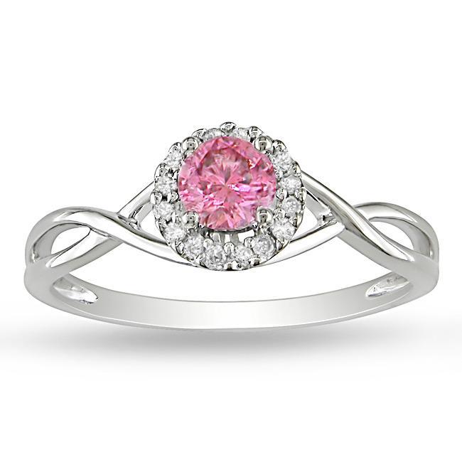 Miadora 14k White Gold 3/8ct TDW Pink and White Diamond Halo Ring (G-H, I1-I2)