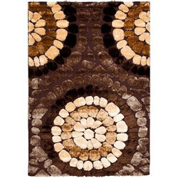 Safavieh Handwoven Silken Embossed Brown Geometric Shag Rug (8' x 10')