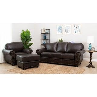 ABBYSON LIVING Richfield Premium Top-grain Leather Sofa, Armchair, and Ottoman Set