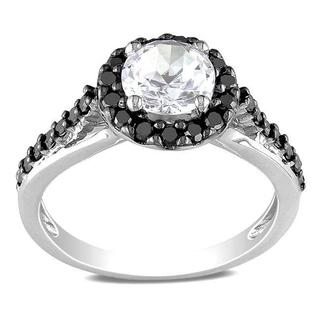 Miadora Sterling Silver 2/5ct Black Diamond and Round-cut White Sapphire Ring