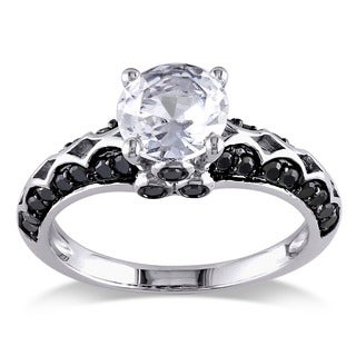 Miadora Sterling Silver 2/5ct TDW Black Diamond and White Sapphire Ring