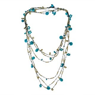 Cotton Rope 3-strand Turquoise and Brass Beads Necklace (Thailand)