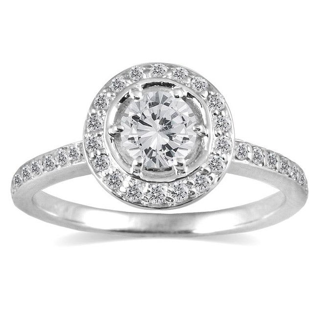 14k White Gold 3/4ct TDW Diamond Halo Engagement Ring (I-J, I1-I2)