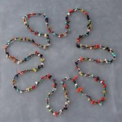Cotton Rope Multi-gemstone Nugget Necklace (Thailand)