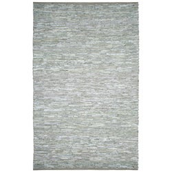 Hand-woven Matador White Leather Rug (4' x 6')