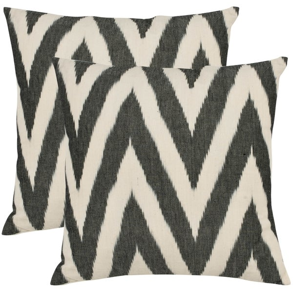 Safavieh Deco 22-inch Charcoal Grey Decorative Pillows (Set of 2)