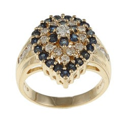 Kabella 14k Yellow Gold Sapphire and 5/8ct TDW Diamond Ring (G-H, SI1-SI2)