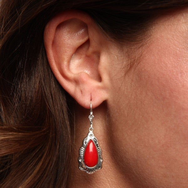 Southwest Moon Sterling Silver Trim Red Coral Leverback Earrings
