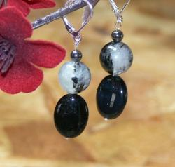 Susen Foster 'Total Eclipse' Rutilated Quratz/ Onyx/ Hematite Earrings
