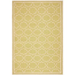 Safavieh Hand-woven Moroccan Reversible Dhurrie Green/ Ivory Wool Rug (8' x 10')
