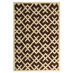Safavieh Handwoven Moroccan Reversible Dhurrie Chocolate/ Ivory Wool Area Rug (3' x 5')