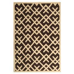 Safavieh Handwoven Moroccan Reversible Dhurrie Chocolate/ Ivory Wool Area Rug (8' x 10')
