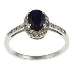 Viducci 10k Gold Blue Sapphire and 1/8ct TDW Diamond Ring (G-H, I1-I2)