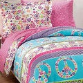 Peace and Love Plain Weave Printed 7-piece Full Size Bed in a Bag