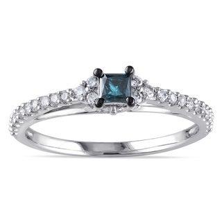 Miadora 10k White Gold 1/2ct TDW Blue and White Diamond Ring (G-H, I2-I3)